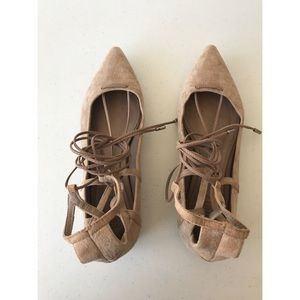 Schutz Tori Ghillies Lace Up Nude Suede Flats